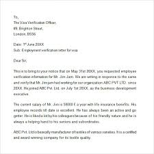 Sample Employment Verification Letter For Canada Visa Cover Letter