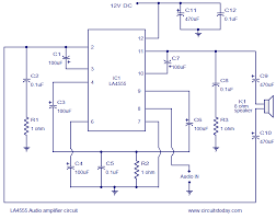 la4550 audio amplifier circuit 4w 8 ohm 12v operation la4550 audio amplifier circuit