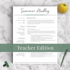 Elementary School Teacher Resume Cool Teacher Resume Template For Word And Pages 4848 Page Educator Etsy