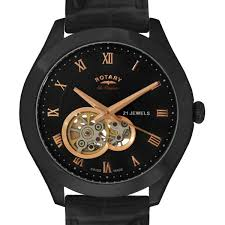 mens jura automatic watch skeleton dial gs90506 06 rotary rotary jura mens automatic swiss watch black strap