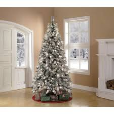 Artificial Christmas Tree Pre-Lit 7.5' Winter Frost Pine, Green ...