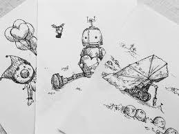 水性ボールペンでちょっとしたイラストを お絵かきブログ絵を描いて