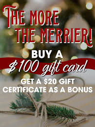 Holiday Gift Certificates Holiday Gift Card Special At The Ridge Hotel