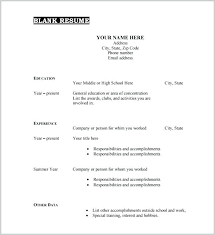 Free Printable Resumes Templates Interesting Free Printable Resume Template Blank Examples Intended For Form