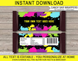 Personalized Candy Bar Wrapper Template Neon Glow Hershey Candy Bar Wrappers Template