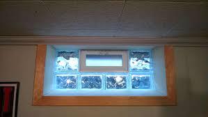 after trimmed inside glass block basement window