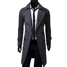 mens wool mid long double ted slim fit casual business trench coat