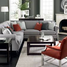 living rooms with red sectionals. pinterest @nadinevoikos | bernhardt living room in grey, red, and silver. brae rooms with red sectionals