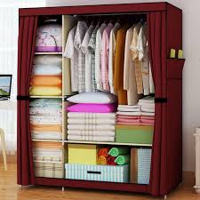 portable double closet storage organizer wardrobe clothes rack with shelves fully enclosed with side pockets double closet wardrobe clothes rack