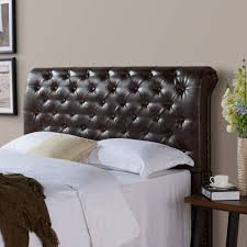 better homes and gardens rolled tufted headboard brown bonded