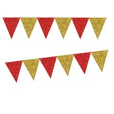 Triangle Banner Red Glitter Gold Glliter 10ft Vintage Pennant Banner Paper Triangle Bunting Flags For Weddings Birthdays Baby Showers Events Parties
