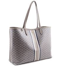 French Designer Tote Bags Tory Burch French Gray Gemini Link Coated Canvas Tote