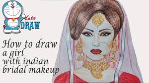 how to draw a with indian bridal makeup step by step