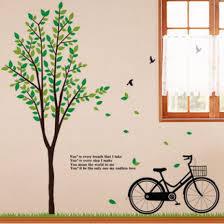 green tree bicycle wall art sticker
