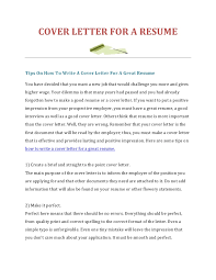 Cover Letter For Academic Position How To Write A Cover Letter For A Resume