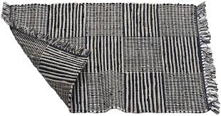 jute door mat rug with tassels hand woven in black ivory color home décor