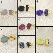 Design Your Own Plugs Details About Raw Druzy Emerald Ruby Citrine Turquoise 24k