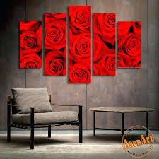 wall decor paintings 5 panel wall art romantic red rose picture for wall decor canvas prints wall decor paintings
