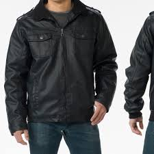oak rush men s black faux leather jackets in craft or manhattan 2 groupon exclusive