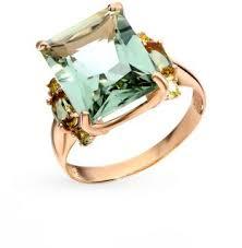 Золотое <b>кольцо</b> с султанитами, <b>хризолитом</b> и аметистом ...