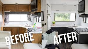 Most popular rv camper van decorating ideas Remodel Our Diy Camper Youtube Our Diy Camper Kitchen Reveal How To Paint Oak Cabinets In An Rv