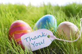 Thank You Easter Colorful Easter Background With Three Easter Eggs And Label With