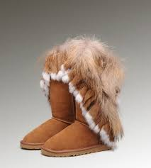 UGG Fox Fur Tall Boots 8688 Chestnut Hot Sale