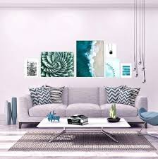teal turquoise gallery wall set of 6 prints art coastal print w asda