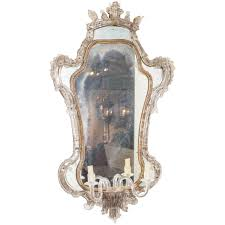 extraordinary 18th century venetian glass mirror with blown glass sconce