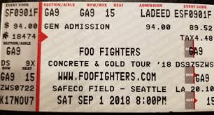 1 Ga Ticket Foo Fighters Seattle 9 1 18 General Admission
