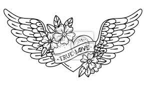 Obraz Tetování Létající Srdce S Křídly Tetovací Srdce Se Stuhou A