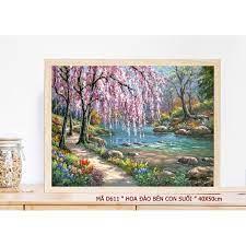 Tranh sơn dầu số hóa rẻ,đẹp-tranh tô màu theo số- tranh thiếu nữ, Tặng khăn,có  khung 40x50-Moon shop-E4 giảm tiếp 168,000đ