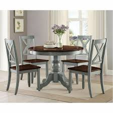 5 Piece Dining Room Set Rustic Round Kitchen Table Chairs Farmhouse