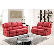 Stylish Sofas Cameo Vibrant Red Leather Power Recliner Sofa Collection With Usb