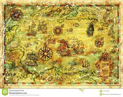 Treasure Island Map Of Caribbean Sea With Ships And