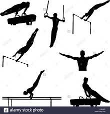 vault gymnastics silhouette. Set Men Athletes Gymnasts In Artistic Gymnastics Silhouette - Stock Image Vault