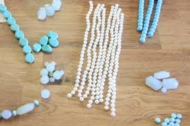 sea glass chandelier recycled faux pearl necklaces