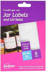 Avery Jar Labels Avery Hjj03 Create Your Own Printable Glossy Jar Labels With Seals White A6 Sheets 89 X 60mm 6 Per Pack