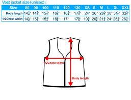 Jacket Measurements Chart Toddler Vest Measurements Chart Size List Vest