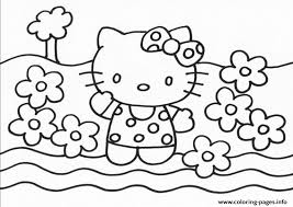 The cat hello kitty belongs to breed of the japanese bobtail, she is a female individual. Hello Kitty With Flowers 85d0 Coloring Pages Printable