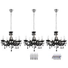 rgb led chandelier made of chrome in black bild 1