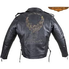 mens leather motorcycle jacket with emboss eagle on back zoom