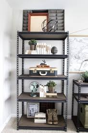 Cheap office shelving Ideas How To Style Industrial Shelves On The Cheap Blesser House For Remodelaholic Remodelaholic Remodelaholic How To Style Industrial Shelves On The Cheap
