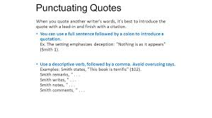 Punctuation Quotes Punctuating Lead Ins Quotes And Citations Ppt Download
