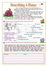 English worksheet: Describing a House