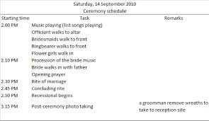 sample wedding ceremony program wedding day timeline sample and template budget brides guide