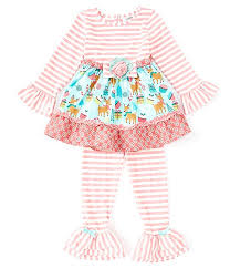 Counting Daisies Little Girls 2t 4t Mixed Media Christmas Reindeer Dress Striped Leggings Set