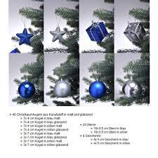 Christbaumschmuck In Blau Silber Weihnachtskugeln Glänzend Und Matt Baumschmuck Weihnachten Deko Anhänger 68 Teiliges Set