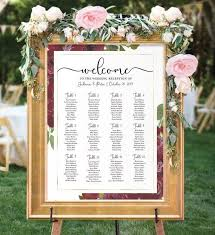 Printable Seating Chart For Wedding Reception Wedding Seating Chart Printable Burgundy Table Plan Floral