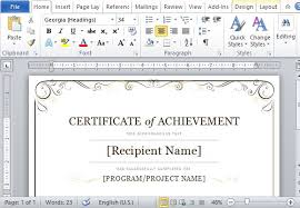 Microsoft Powerpoint Certificate Template Certificate Of Achievement Sample 30 Free Printable